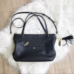 COACH Tyler Pebbled Leather Tote! Black